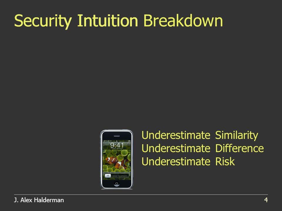 J. Alex Halderman4 Security IntuitionSecurity Intuition Breakdown Underestimate Similarity Underestimate Difference Underestimate Risk