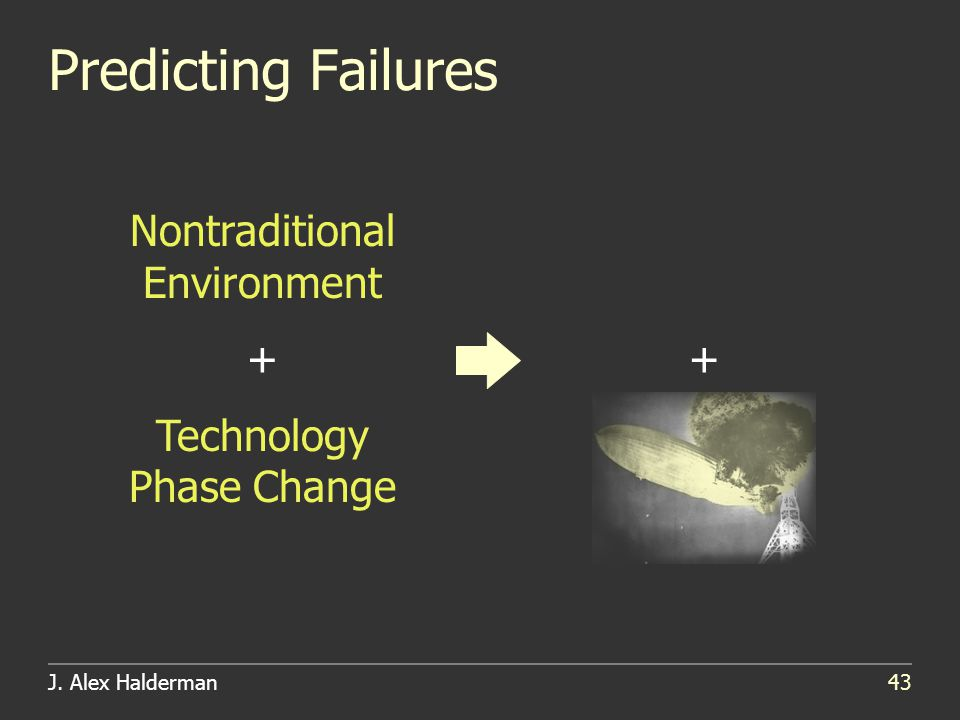 J. Alex Halderman43 Predicting Failures Nontraditional Environment + Technology Phase Change +
