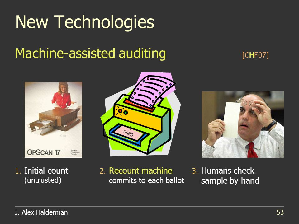 J. Alex Halderman53 New Technologies [CHF07] Machine-assisted auditing 1.