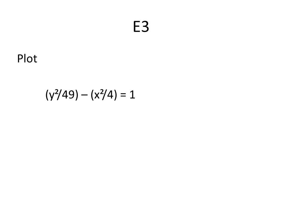 E3 Plot (y²/49) – (x²/4) = 1