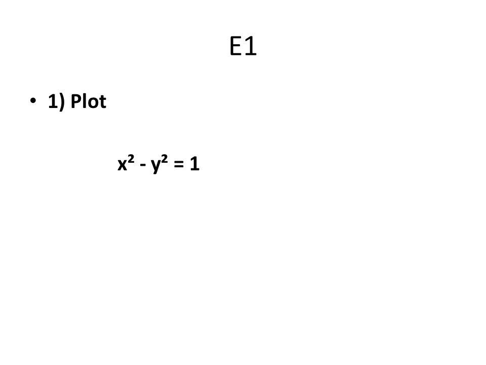 E1 1) Plot x² - y² = 1