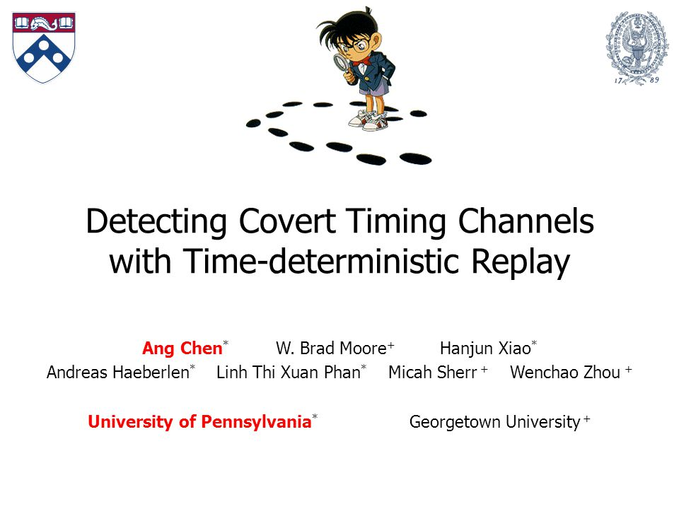 Detecting Covert Timing Channels with Time-deterministic Replay Ang Chen * W.