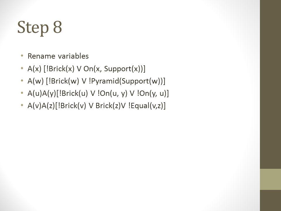 Step 8 Rename variables A(x) [!Brick(x) V On(x, Support(x))] A(w) [!Brick(w) V !Pyramid(Support(w))] A(u)A(y)[!Brick(u) V !On(u, y) V !On(y, u)] A(v)A
