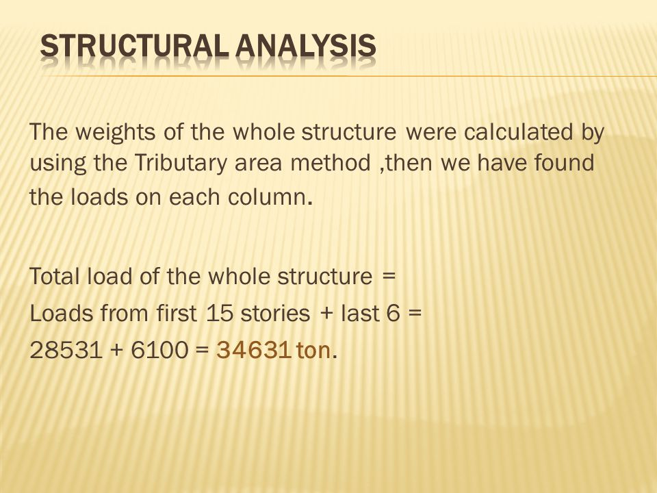 The weights of the whole structure were calculated by using the Tributary area method,then we have found the loads on each column. Total load of the w