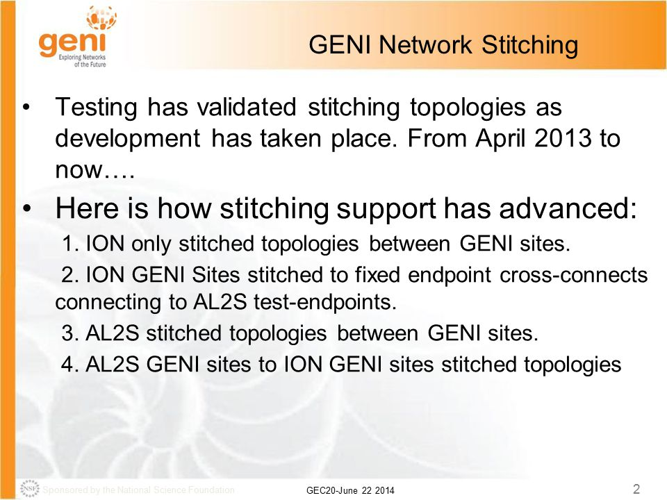 Sponsored by the National Science Foundation GEC20-June 22 2014 2 GENI Network Stitching Testing has validated stitching topologies as development has taken place.