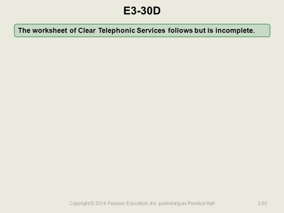 Copyright © 2014 Pearson Education, Inc. publishing as Prentice Hall3-55 The worksheet of Clear Telephonic Services follows but is incomplete. E3-30D