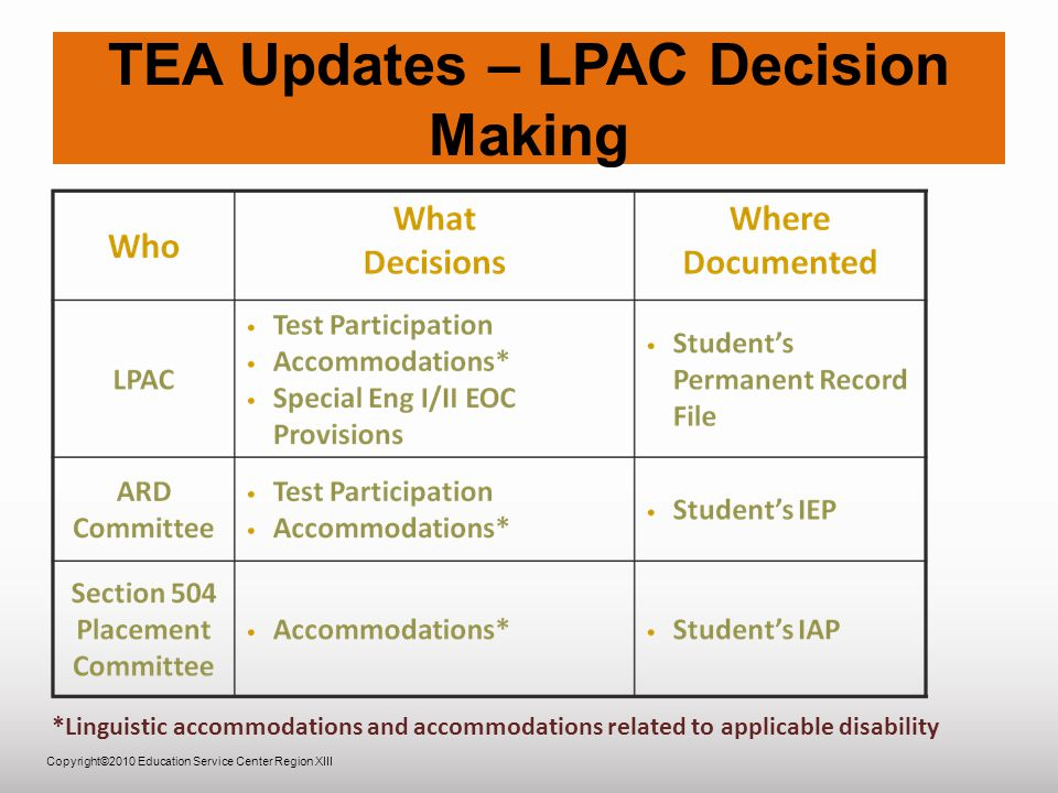 Copyright©2010 Education Service Center Region XIII TEA Updates – LPAC Decision Making *Linguistic accommodations and accommodations related to applicable disability