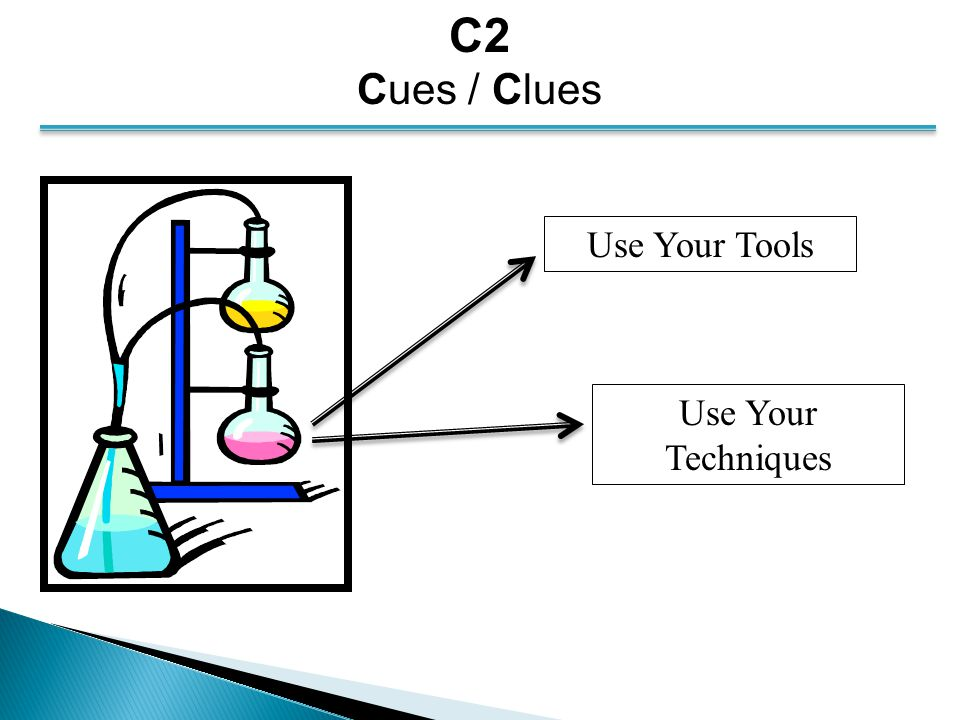 C2 Cues / Clues Use Your Tools Use Your Techniques