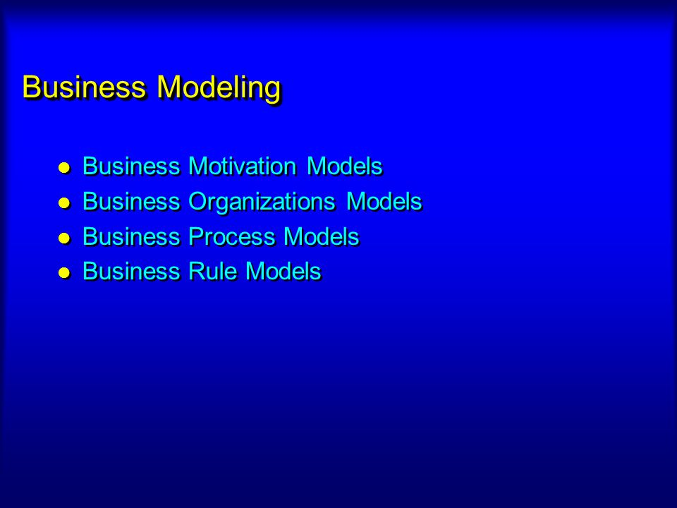 Business Modeling Business Motivation Models Business Organizations Models Business Process Models Business Rule Models Business Motivation Models Bus