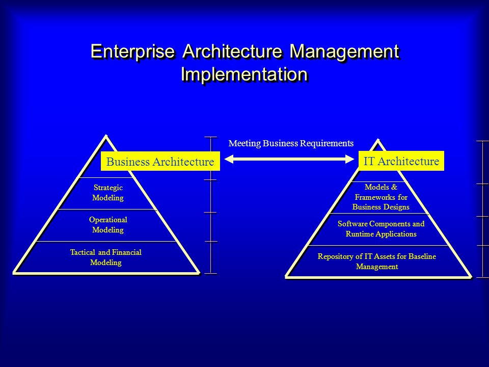 Enterprise Architecture Management Implementation Business Architecture Models & Frameworks for Business Designs Software Components and Runtime Appli