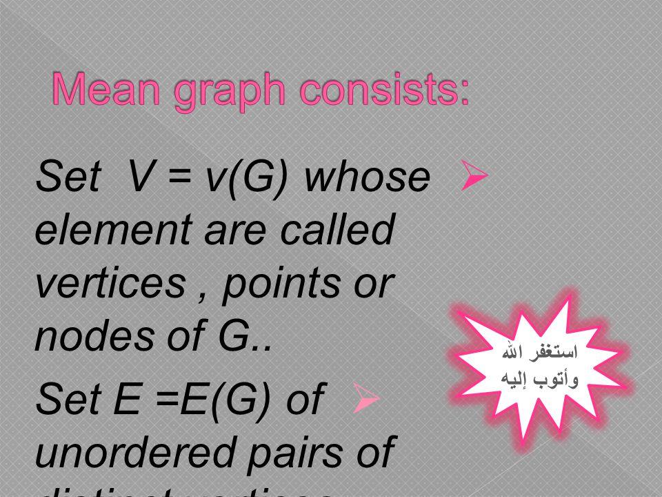  Set V = v(G) whose element are called vertices, points or nodes of G..