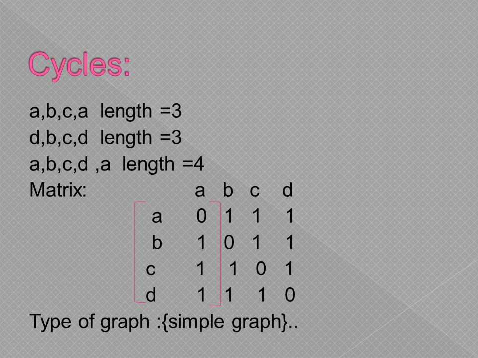 a,b,c,a length =3 d,b,c,d length =3 a,b,c,d,a length =4 Matrix: a b c d a 0 1 1 1 b 1 0 1 1 c 1 1 0 1 d 1 1 1 0 Type of graph :{simple graph}..