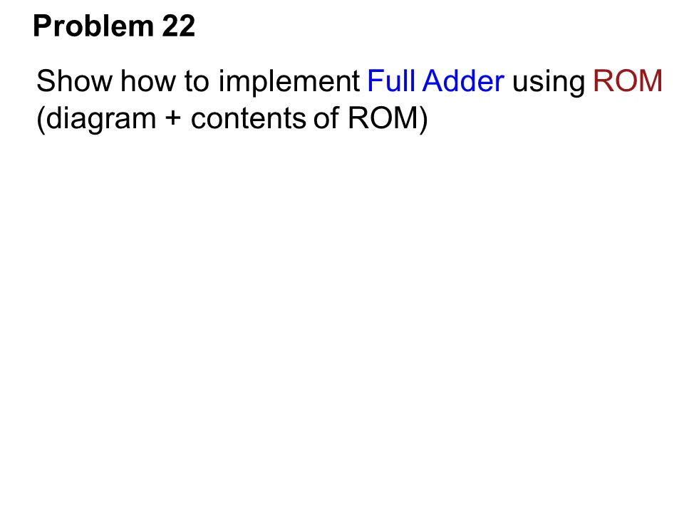 Problem 22 Show how to implement Full Adder using ROM (diagram + contents of ROM)