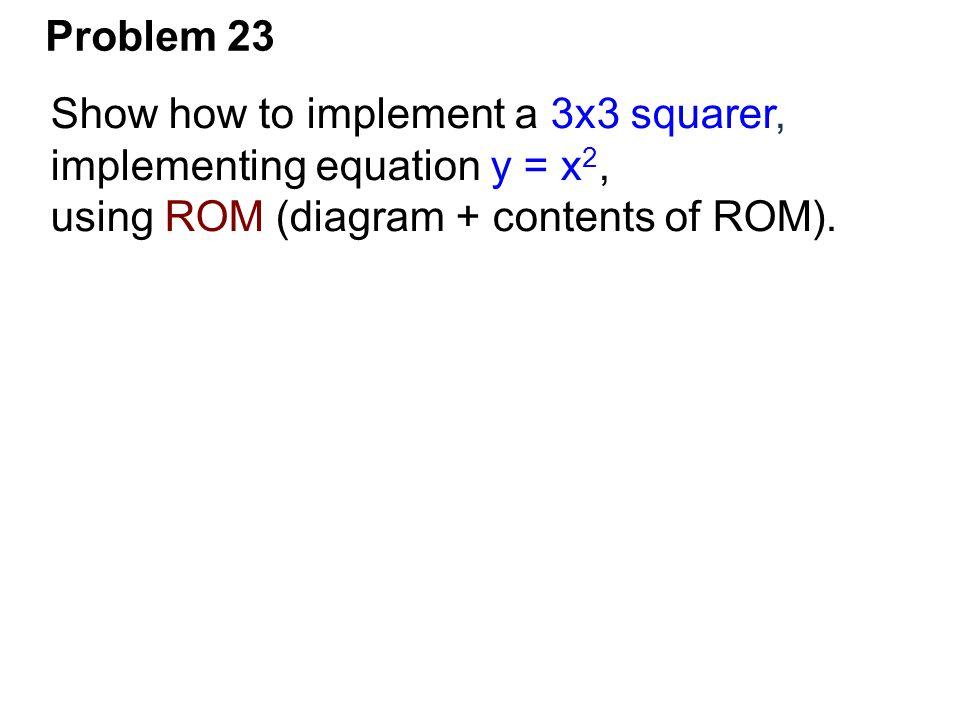 Problem 23 Show how to implement a 3x3 squarer, implementing equation y = x 2, using ROM (diagram + contents of ROM).