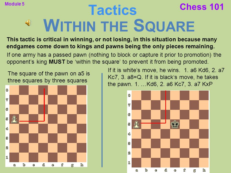 Chess 101 This tactic is critical in winning, or not losing, in this situation because many endgames come down to kings and pawns being the only pieces remaining.