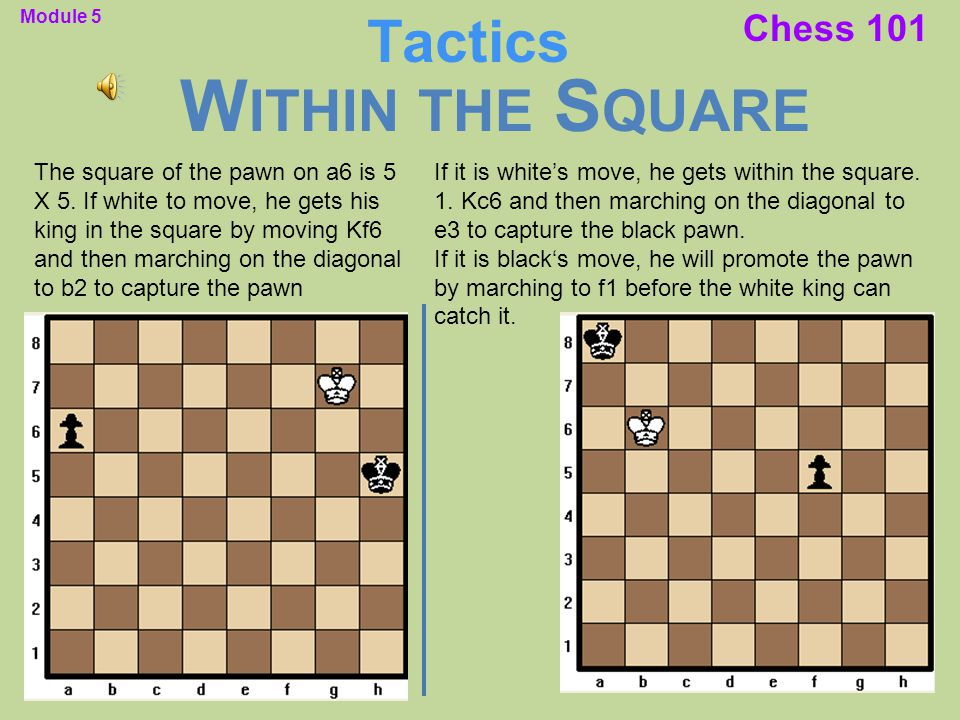 Chess 101 The square of the pawn on a6 is 5 X 5. If white to move, he gets his king in the square by moving Kf6 and then marching on the diagonal to b