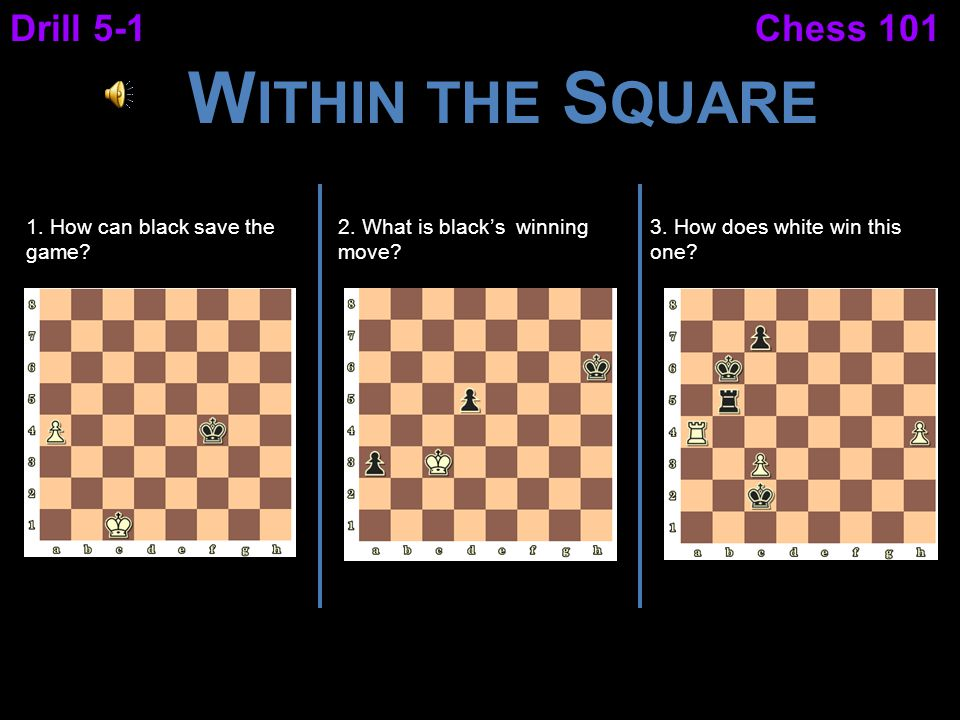 Chess 101Drill 5-1 W ITHIN THE S QUARE 1. How can black save the game? 2. What is black's winning move? 3. How does white win this one?
