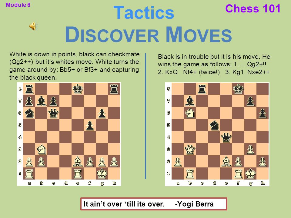 Chess 101 White is down in points, black can checkmate (Qg2++) but it's whites move. White turns the game around by: Bb5+ or Bf3+ and capturing the bl