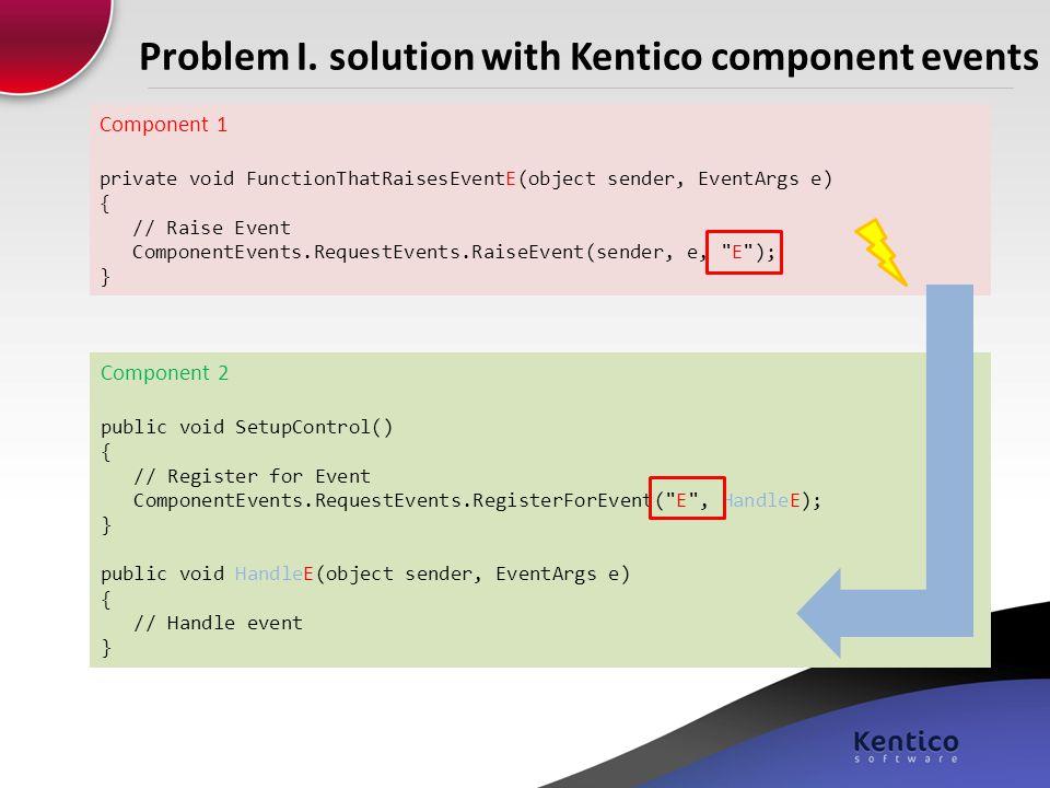 Problem I. solution with Kentico component events Component 2 public void SetupControl() { // Register for Event ComponentEvents.RequestEvents.Registe