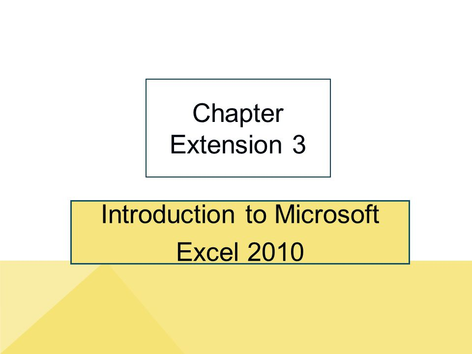 Introduction to Microsoft Excel 2010 Chapter Extension 3