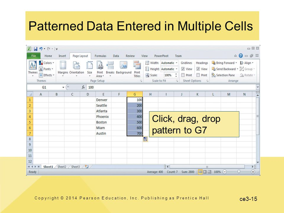 ce3-15 Patterned Data Entered in Multiple Cells Copyright © 2014 Pearson Education, Inc.