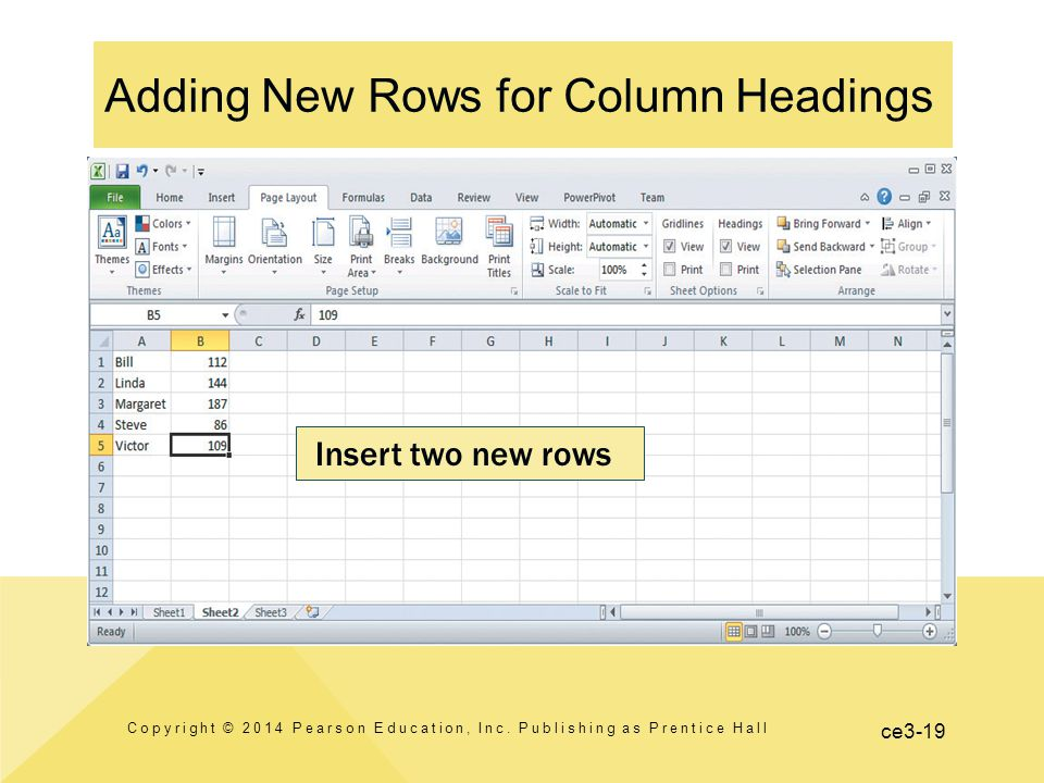 ce3-19 Adding New Rows for Column Headings Copyright © 2014 Pearson Education, Inc.