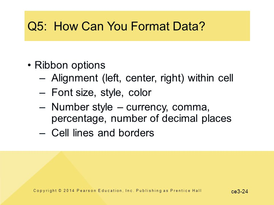ce3-24 Q5: How Can You Format Data. Copyright © 2014 Pearson Education, Inc.