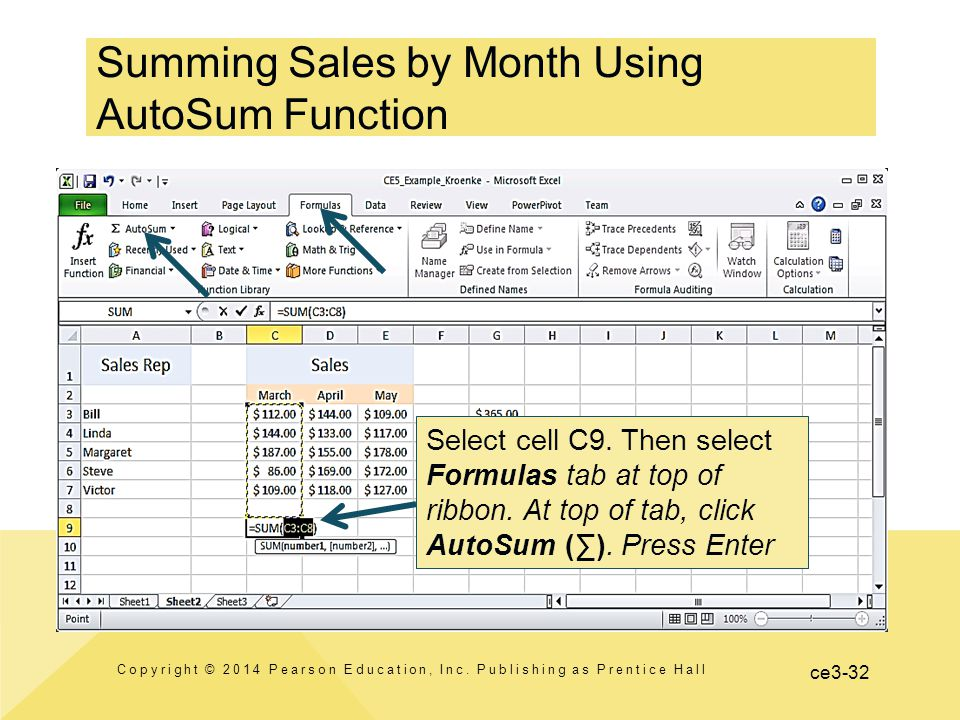 ce3-32 Summing Sales by Month Using AutoSum Function Copyright © 2014 Pearson Education, Inc.