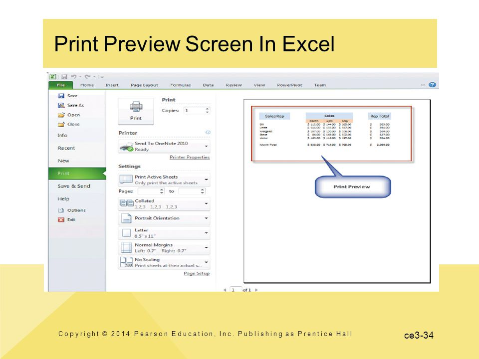 ce3-34 Print Preview Screen In Excel Copyright © 2014 Pearson Education, Inc.
