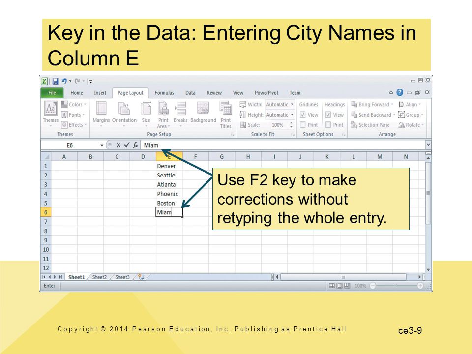 ce3-9 Key in the Data: Entering City Names in Column E Copyright © 2014 Pearson Education, Inc.