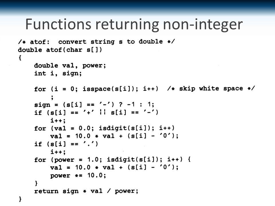 Functions returning non-integer