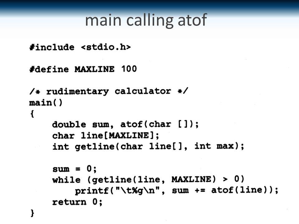 main calling atof