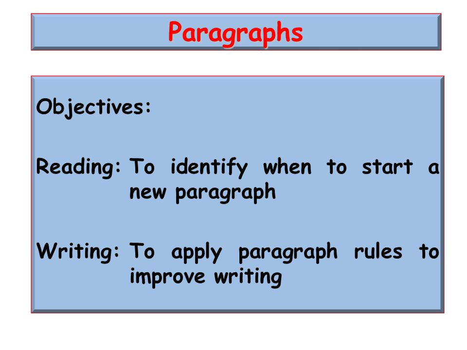 Objectives: Reading:To identify when to start a new paragraph Writing:To apply paragraph rules to improve writing Paragraphs