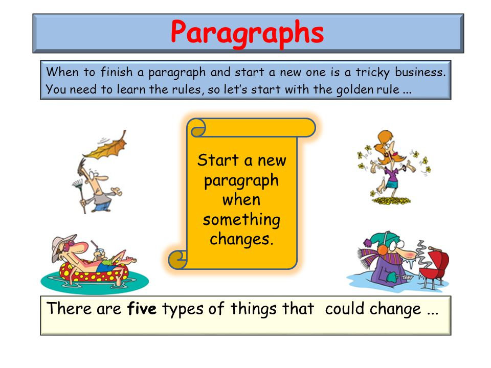 When to finish a paragraph and start a new one is a tricky business.