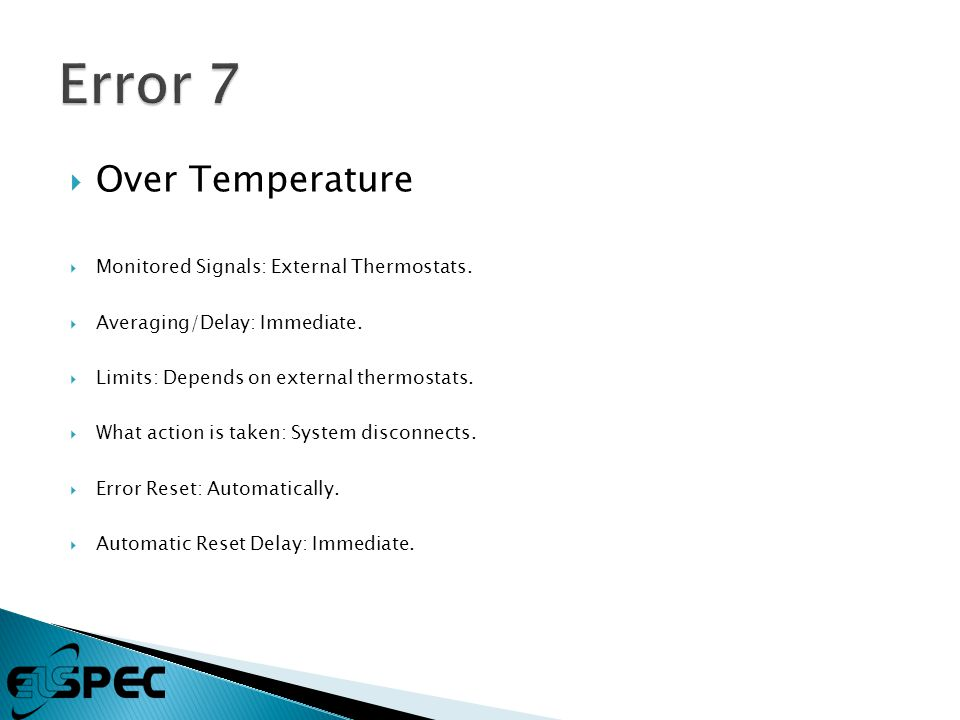  Over Temperature  Monitored Signals: External Thermostats.