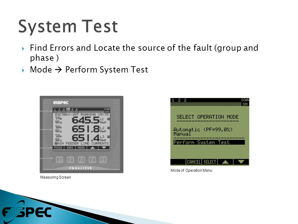  Find Errors and Locate the source of the fault (group and phase )  Mode  Perform System Test Mode of Operation Menu Measuring Screen