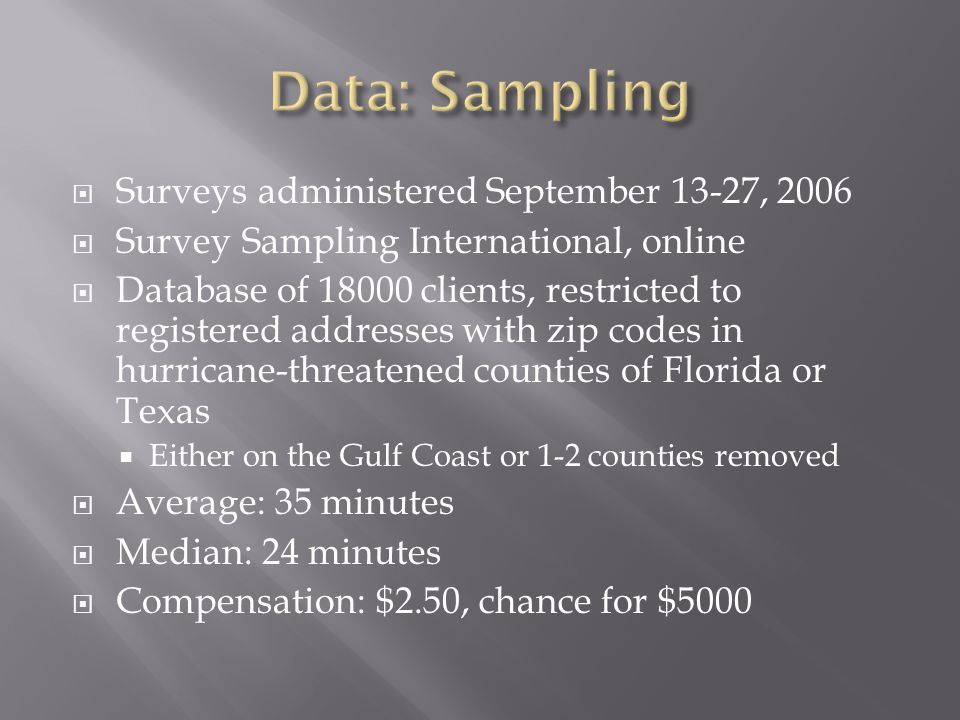  Surveys administered September 13-27, 2006  Survey Sampling International, online  Database of 18000 clients, restricted to registered addresses with zip codes in hurricane-threatened counties of Florida or Texas  Either on the Gulf Coast or 1-2 counties removed  Average: 35 minutes  Median: 24 minutes  Compensation: $2.50, chance for $5000