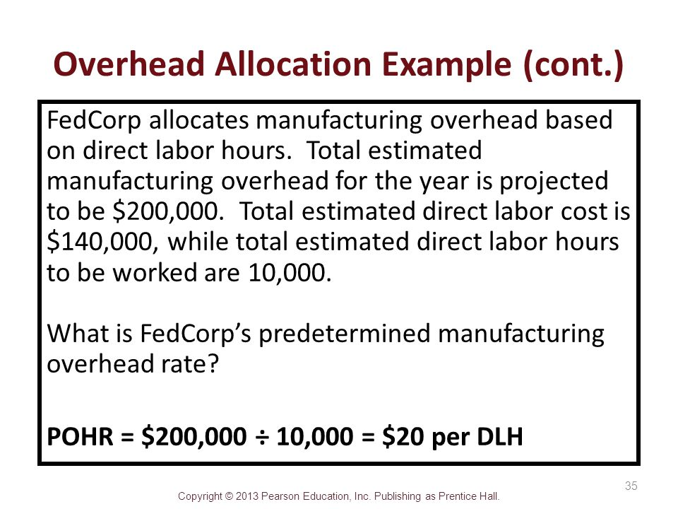 Copyright © 2013 Pearson Education, Inc. Publishing as Prentice Hall. FedCorp allocates manufacturing overhead based on direct labor hours. Total esti