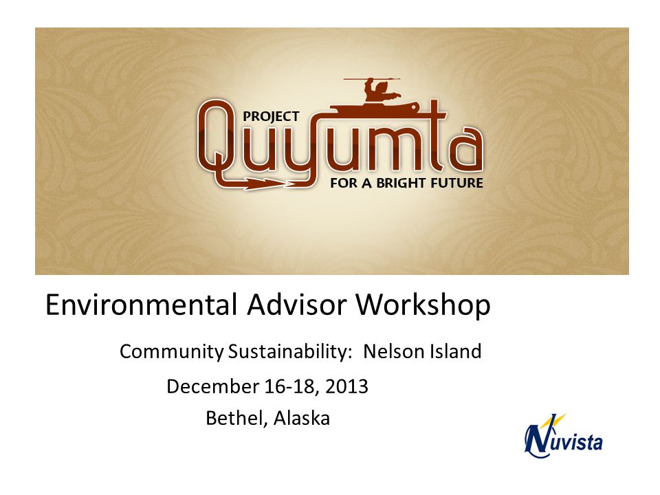 Quyumta Environmental Advisor Workshop Community Sustainability: Nelson Island December 16-18, 2013 Bethel, Alaska