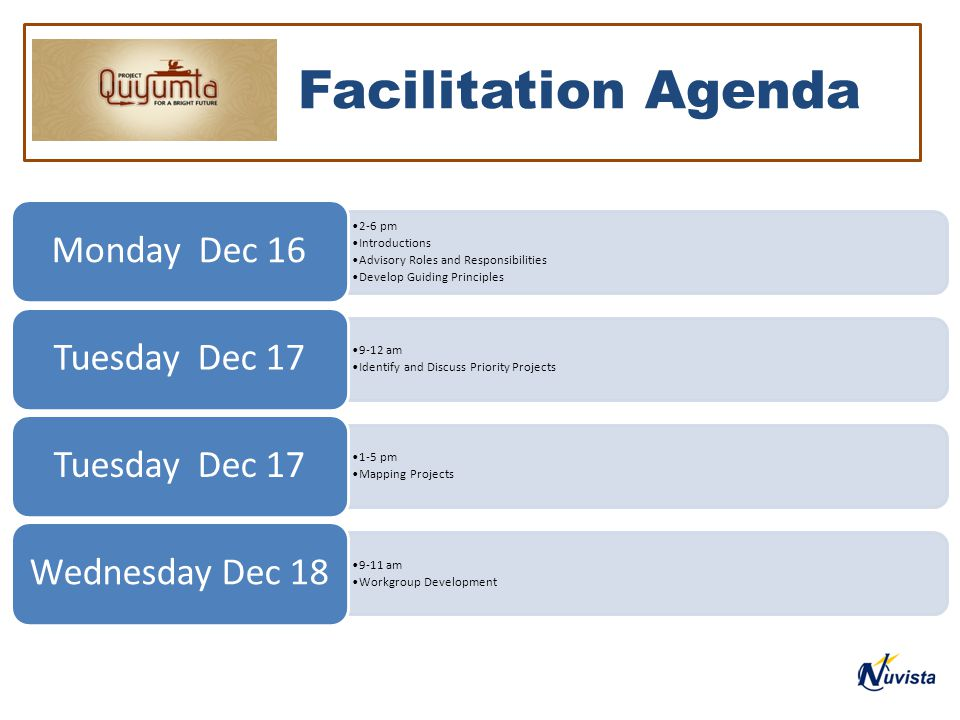 Facilitation Agenda 2-6 pm Introductions Advisory Roles and Responsibilities Develop Guiding Principles Monday Dec 16 9-12 am Identify and Discuss Priority Projects Tuesday Dec 17 1-5 pm Mapping Projects Tuesday Dec 17 9-11 am Workgroup Development Wednesday Dec 18