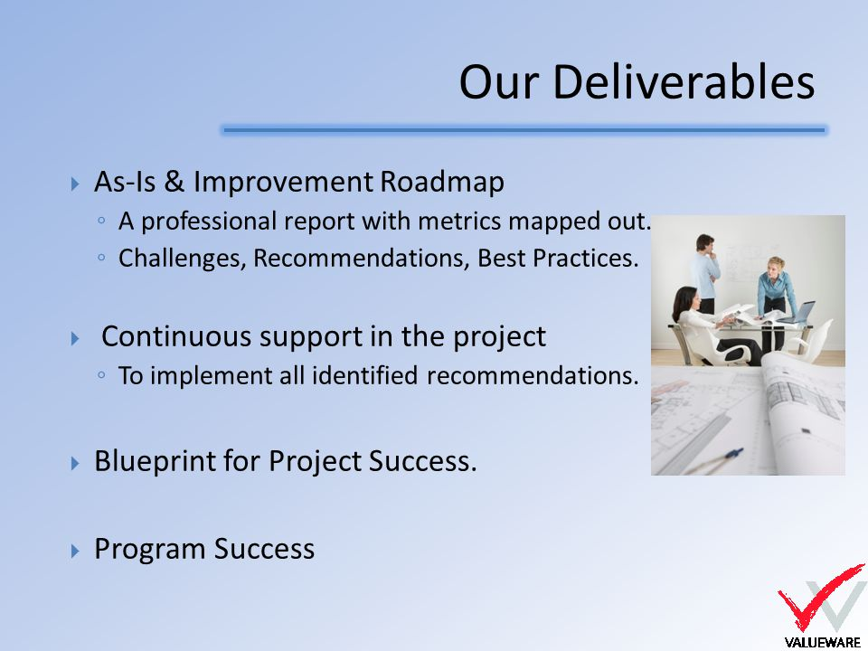 Our Deliverables  As-Is & Improvement Roadmap ◦ A professional report with metrics mapped out.