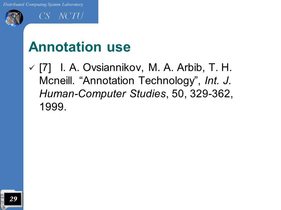 Annotation use [7] I. A. Ovsiannikov, M. A. Arbib, T.