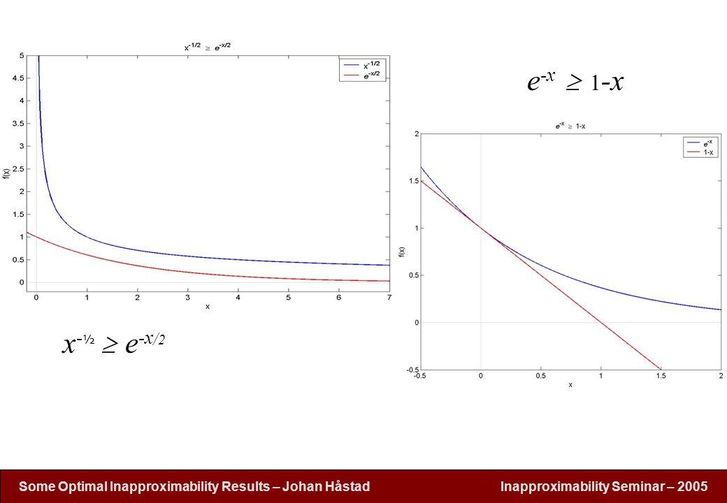 Inapproximability Seminar – 2005 Some Optimal Inapproximability Results – Johan H å stad x - ½  e -x / 2 e -x  1 -x