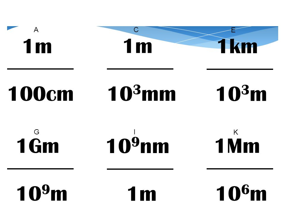 1Mm 10 6 m 10 9 nm 1m 1Gm 10 9 m 1m 100cm 1m 10 3 mm 1km 10 3 m AC E GI K