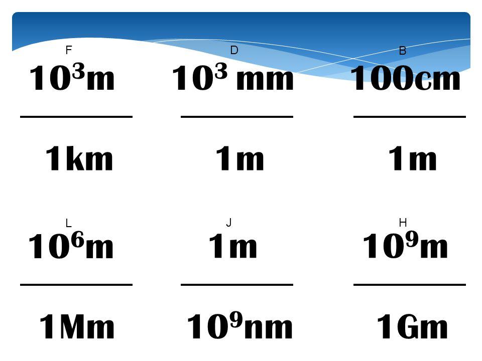 10 3 mm 1m 10 9 nm B DF 10 9 m 1Gm HJ 10 6 m 1Mm L 100cm 1m 10 3 m 1km