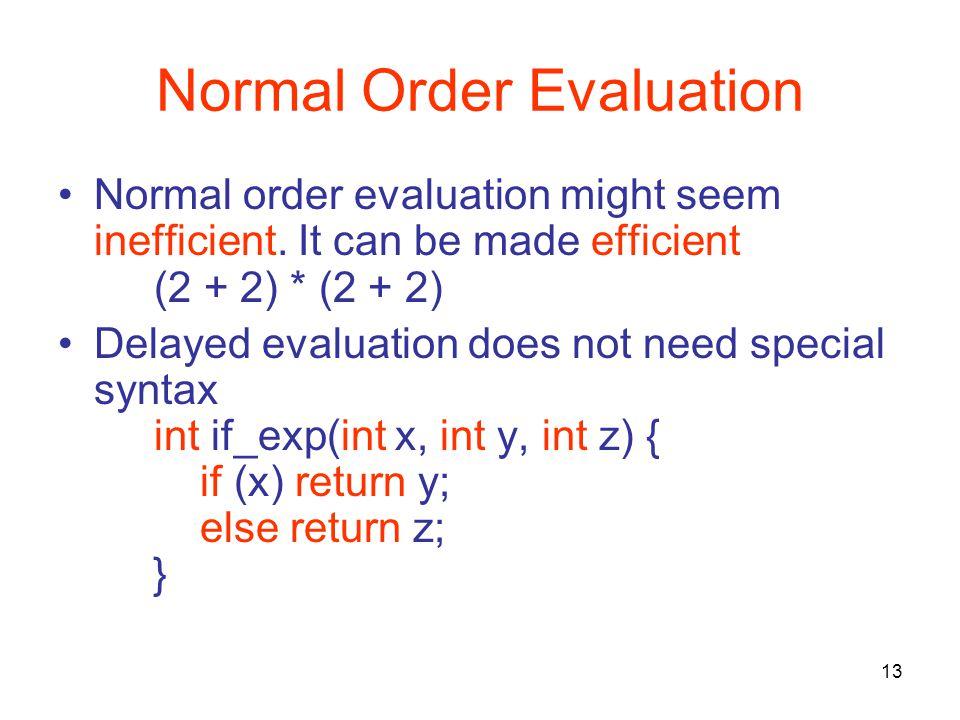 13 Normal Order Evaluation Normal order evaluation might seem inefficient.
