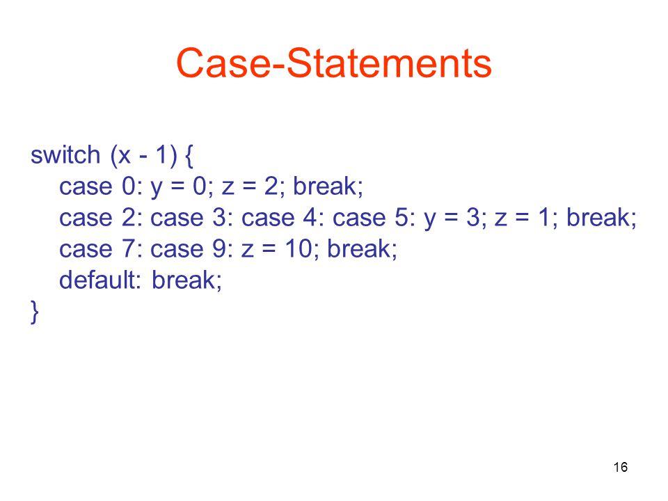 16 Case-Statements switch (x - 1) { case 0: y = 0; z = 2; break; case 2: case 3: case 4: case 5: y = 3; z = 1; break; case 7: case 9: z = 10; break; default: break; }