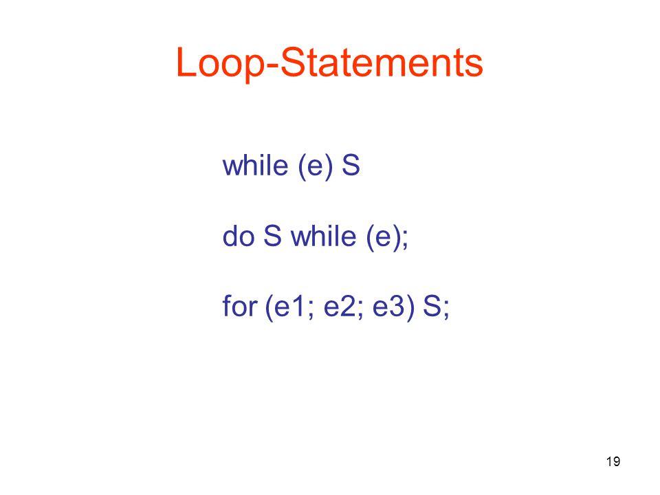 19 Loop-Statements while (e) S do S while (e); for (e1; e2; e3) S;