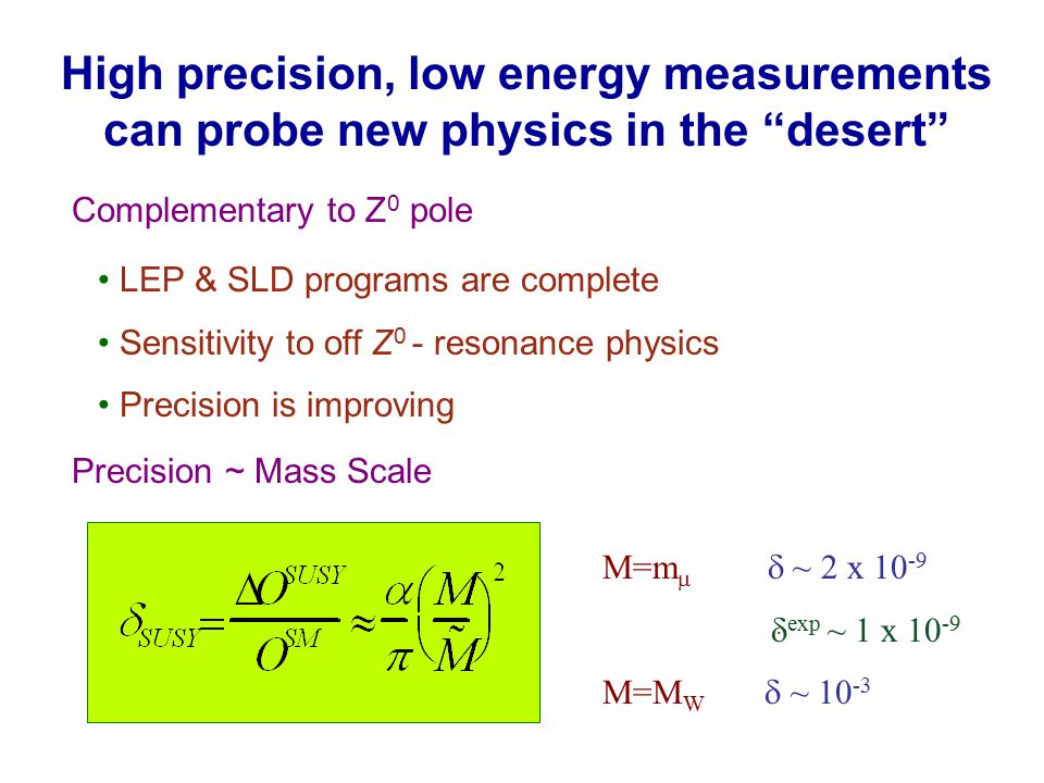 High precision, low energy measurements can probe new physics in the desert Complementary to Z 0 pole Precision ~ Mass Scale M=m   ~ 2 x 10 -9  exp ~ 1 x 10 -9 M=M W  ~ 10 -3 LEP & SLD programs are complete Sensitivity to off Z 0 - resonance physics Precision is improving