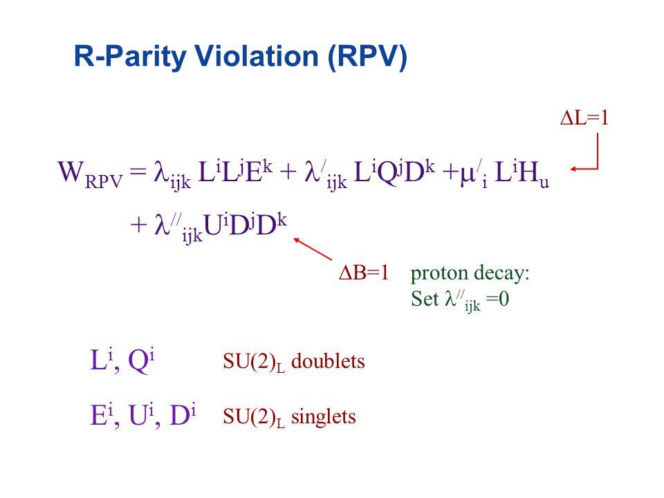 R-Parity Violation (RPV) W RPV = ijk L i L j E k +  ijk L i Q j D k +  / i L i H u +  ijk U i D j D k  L=1  B=1 L i, Q i E i, U i, D i SU(2) L doublets SU(2) L singlets proton decay: Set  ijk =0